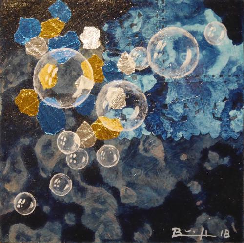 "Mixed-Media-Collage ""Nachthimmelsblasen (2)"""