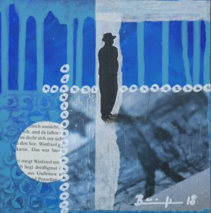 "Mixed-Media-Collage ""Wer bist du (blau)"""