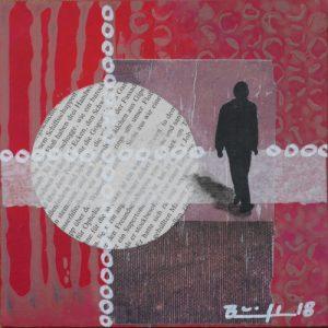 """Mixed-Media-Collage """"Wer bist du (rot)"""""""