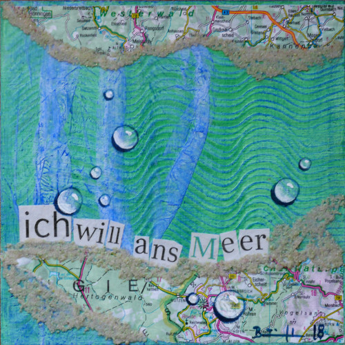 "Mixed-Media-Collage ""ich will ans Meer (2)"""