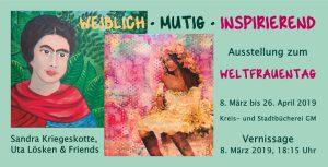 """Flyer Ausstellung """"weiblich - mutig - inspirierend"""""""