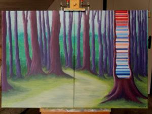 Diptichon: global warming im Wald