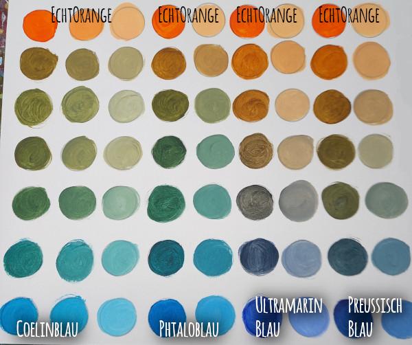 Mischübung: Orange und Blau