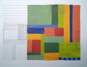o.T. (Flächen und Linien), ca. 20 x 28 cm, Acrylfarbe und Fineliner auf Aquarellpapier